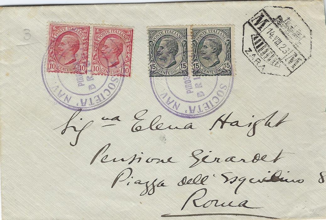 Italy (Maritime) 1923 cover to Rome franked pairs 10c. and 15c. �Leone� tied by violet cachet Societa Navigazione/ Piroscafo/ Brioni, octagonal picture date stamp of Zara top right with ordinary cds on reverse together with arrival cds.