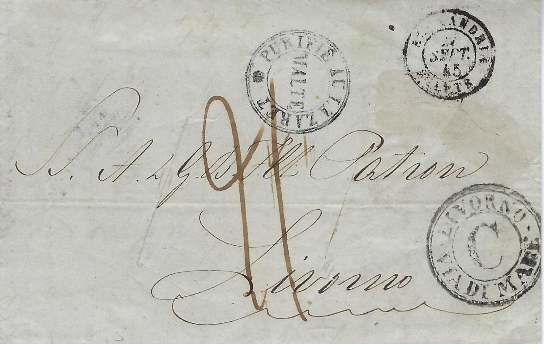 Italy (Maritime) 1845 incoming entrie from Alexandria, Egypt through the French Post Office to Livorno, routed via Malta where disinfected by slitting and where the cachetPurifie Au Lazaret/ Malte was applied. The obverse also bears arrival maritime handstamp Livorno * Via Di Mare C, rated 21 crazie.