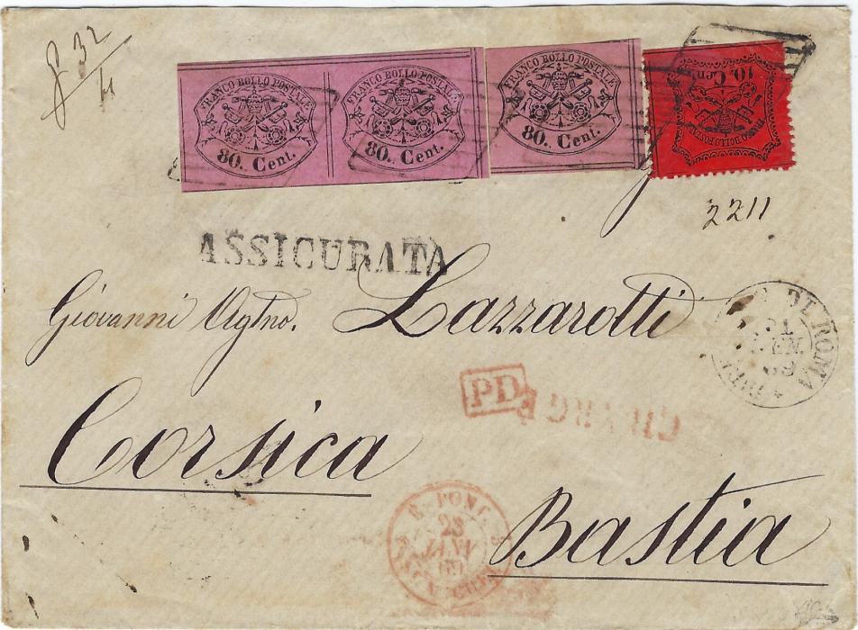 Italy (Papal States) 1869 registered cover to Bastia, Corsica bearing mixed issue franking of imperf 80c. single and a further pair of 80c. in a brighter shade together with a perforated 10c. tied by four lozenges, straight-line ASSICURATA handstamp, Roma cds, red framed PD, unframed CHARGE and French entry cds, reverse with framed registration, transit and arrival cancels. The reverse is a bit messy, light vertical filing crease running between two of the 80c. Very rare cover to a fine destination.