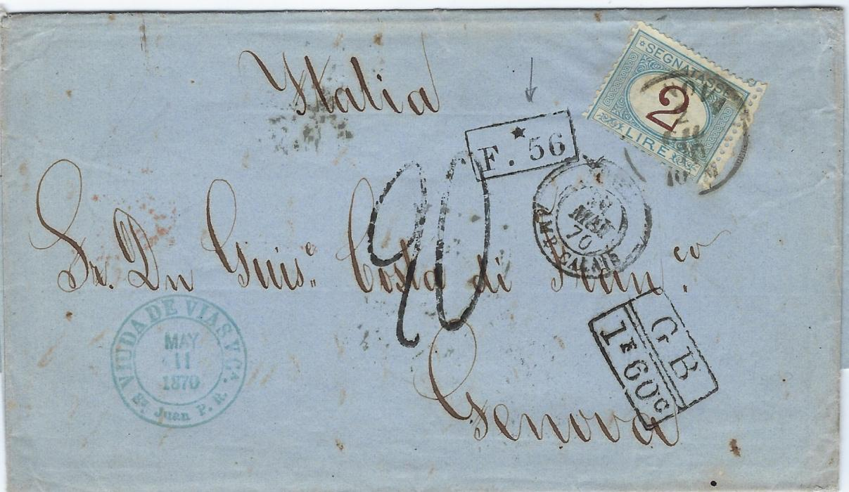 Italy 1870 (May 11) unpaid entirefrom St Juan, Porto Rico to  Genova with London transit backstamp, British accountancy G.B./1f60c, French entry cds and their accountancy F.*56, rated 20 decimes on arrival with 2L Postage Due applied; good double weight cover.