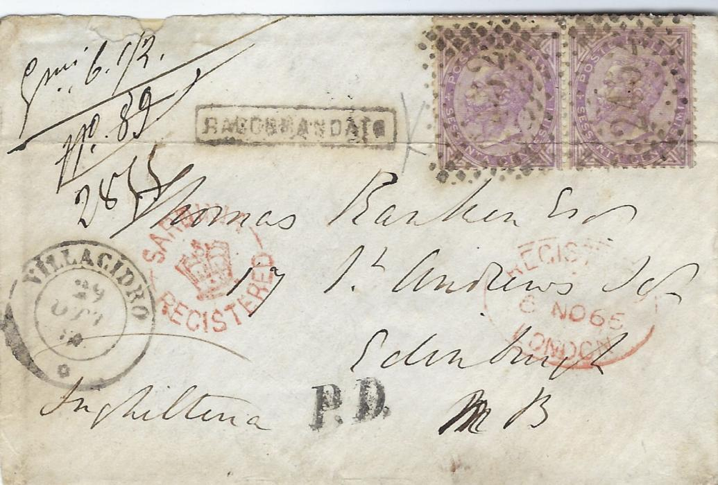 Italy (Sardinia) 1863 registerd cover to Edinburgh franked pair 60c. lilac, London printing Sass L21) tied �2454� numerl  lozenge, Villacidro cds in association, framed RACCOMANDATO and unframed P.D., fine strike of rare Sardinia/ (crown)/ Registered, London transit, arrival backstamp; small part of backflap missing. G Bottacchi Certificate.