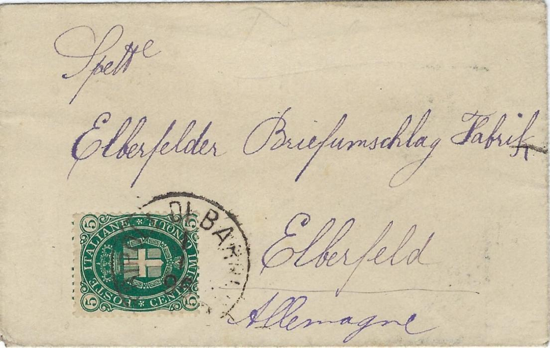 Italy (Tunisia) 1896 unsealed printed matter rate cover to Elberfeld, Germany franked 5c. tied Tripoli Di Barbera cds; a fine calling card cover.