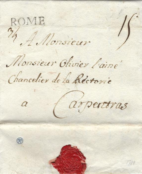 Italy 1747 and 1788 entires to Marseille and Carpentras each with straight-line ROME handstamp of the French Offices. Fine condition pair.