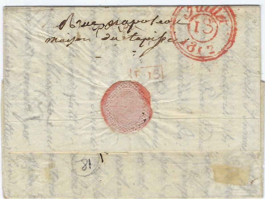 France (Napoleonic Mail) 1812 long entire to Hotel de L�Europe, Paris bearing straight-line �ARM D�ITALIE� handstamp, manuscript rate, reverse with red arrival cds; fine, neat example.