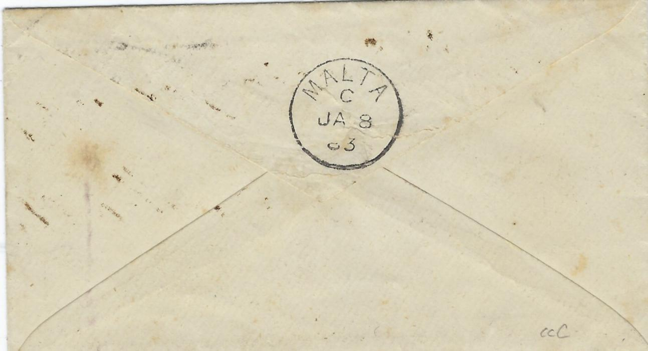 Italy (Tunisia) 1883 cover to Malta franked 'Estero' overprinted 50c. violet cancelled with unclear lozenge, alongside Tripoli Di Berberia Poste Ital. Cds, arrival backstamp. Various signatures and Dienna Certificate. Fine and scarce.