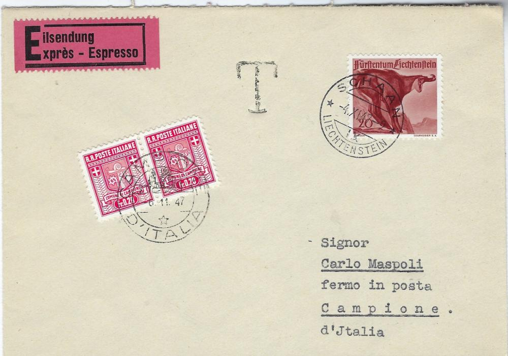 Italy (Campione) 1947 (4.XI.) express cover from Schaan, Liechtenstein with �T� handstamp alongside and pair of Fr.0.20 applied and tied Campione D�Italia illustrated date stamp.
