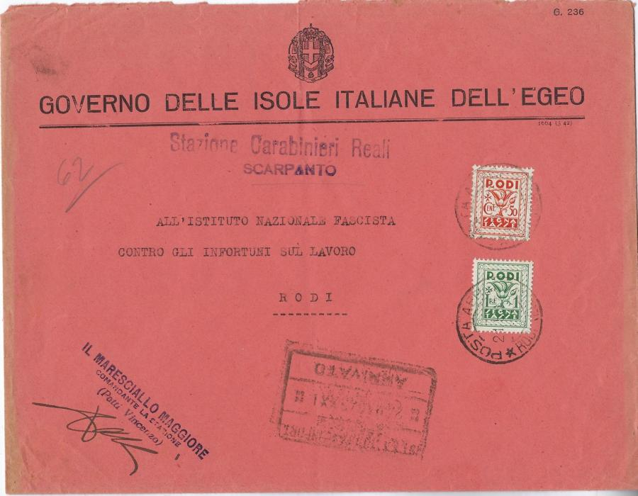 Aegean Islands (Scarpanto) 1943 Government envelope with hand stamp Stazione Carabinieri Reali/ Scarpanto to National Fascist Institute with 50c. and 1L. Postage Dues tied Rodi cds; light central vertical filing crease, unusual item.