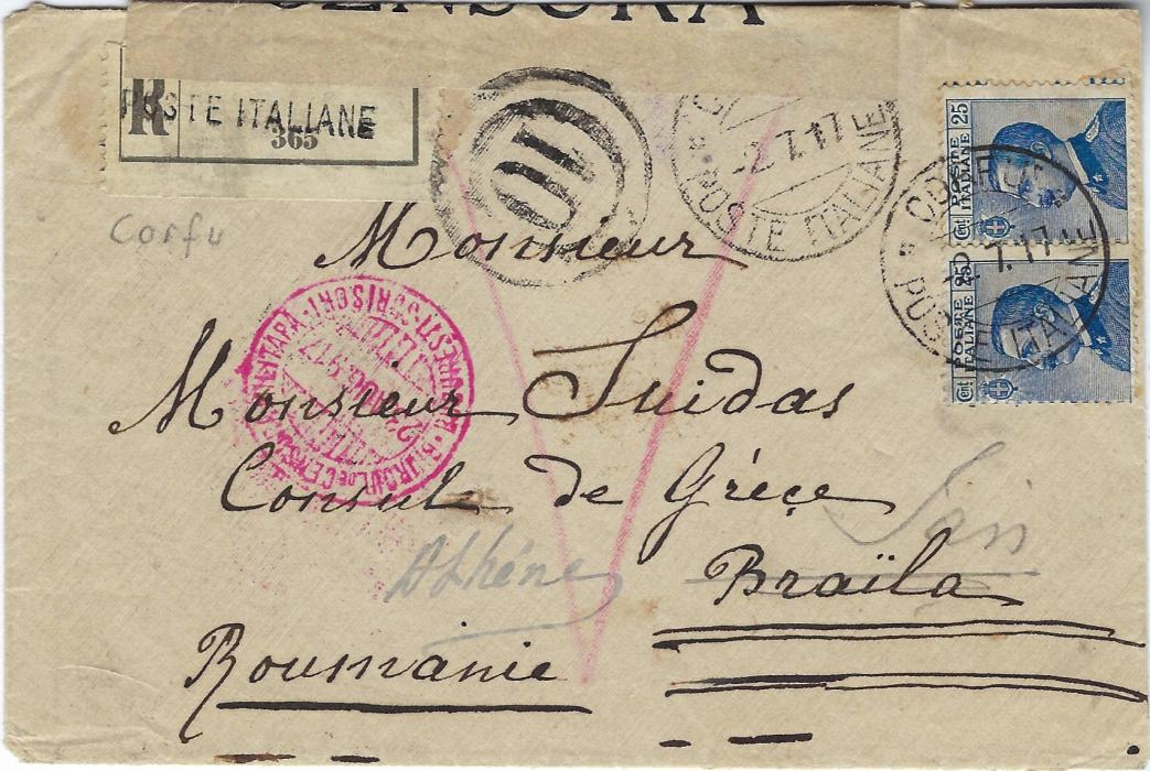 Italy (Corfu) 1917 (-2.7.) registered cover to Greek Consulate, Braila, Roumania franked pair 25c. tied Corfu Poste Italiane, Italian censor tape and handstamps at top, redirected on arrival  to Athens with Bucharest censor; fine condition.