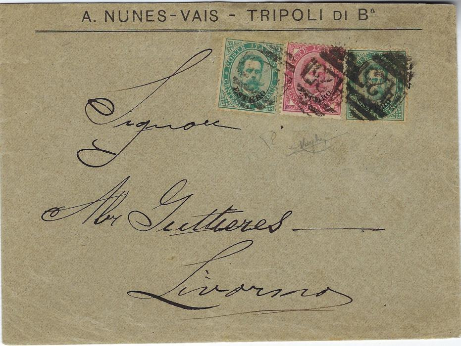 Italy (Libia) 1889 commercial envelope addressed to Livorno franked 'Estero' overprinted Umberto I 5c. (2) and 10c., not cancelled on despatch but in transit at Malta with A25 obliterators, reverse with backflap missing with small part Malts cds remaining and Napoli transit, scarce.