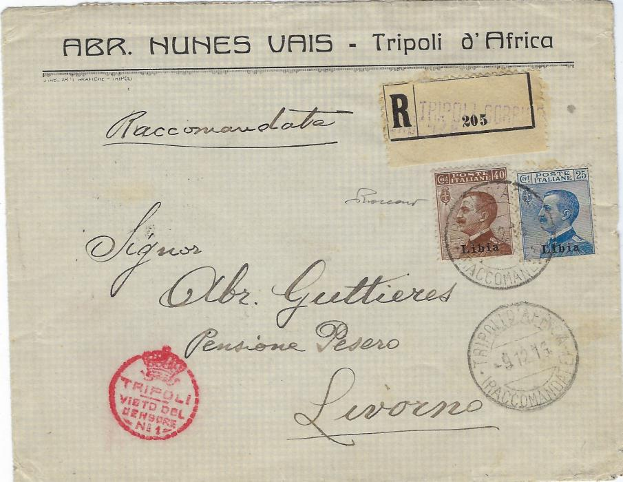 Italy (Libia) 1916 registered censored cover to Livorno, franked overprinted 25c. and 40c. tied Tripoli D'Africa cds, red censorship cachet bottom left, arrival backstamp.