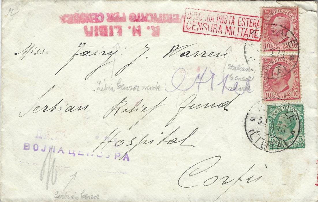 Italy (Libia) 1916 cover addressed to Serbian Relief Fund, Hospital, Corfu, franked 5c. and two 10c. tied R.Nave Libia cds, red censorship at top, Italian at right and Serbian at base, reverse with further despatch and Italian censor plus unclear arrival; fine tripe censored cover.