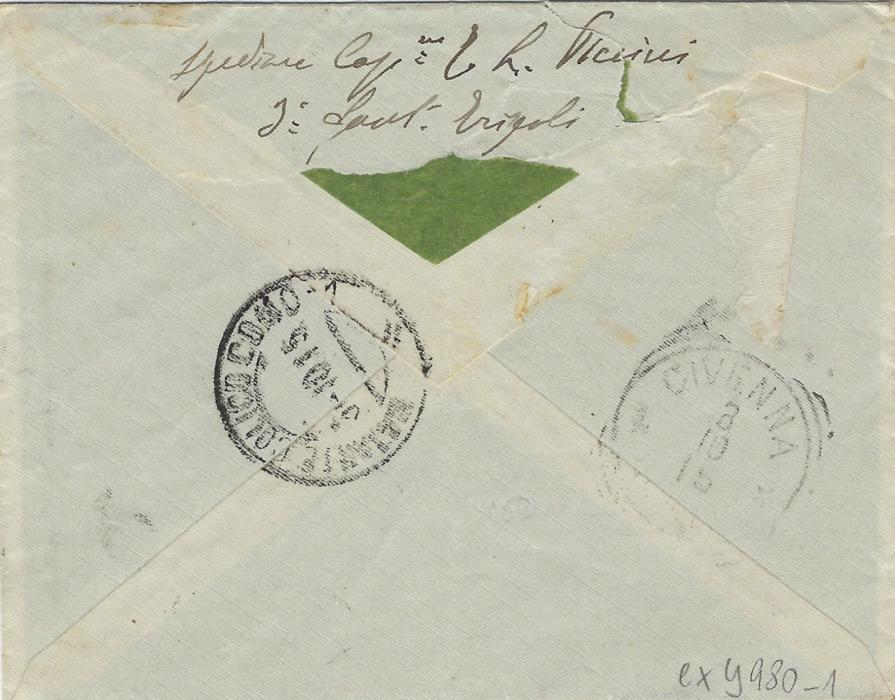 Italy (Libia) 1915 registered cover to Civenna, Como, franked 15c. and 25c. tied Tripoli cds, handstamped registration etiquette that is tied by cds and by censor cachet, arrival backstamps; a little roughly opened on reverse, otherwise fine.