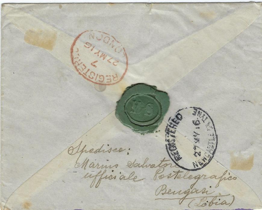 Italy (Libia) 1916 registered cover to Newcastle franked Libia overprinted 15c. (2) and 20 on 15c. tied Bengasi cds, reverse with London transit and arrival cds
