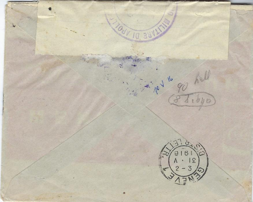 Italy (Libia) 1916 cover to Geneva, Switzerland bearing single franking overprinted 25c. tied by fine strike of Marsasusa (Cyrenaica) cds, with violet censor cachets and tape at top.