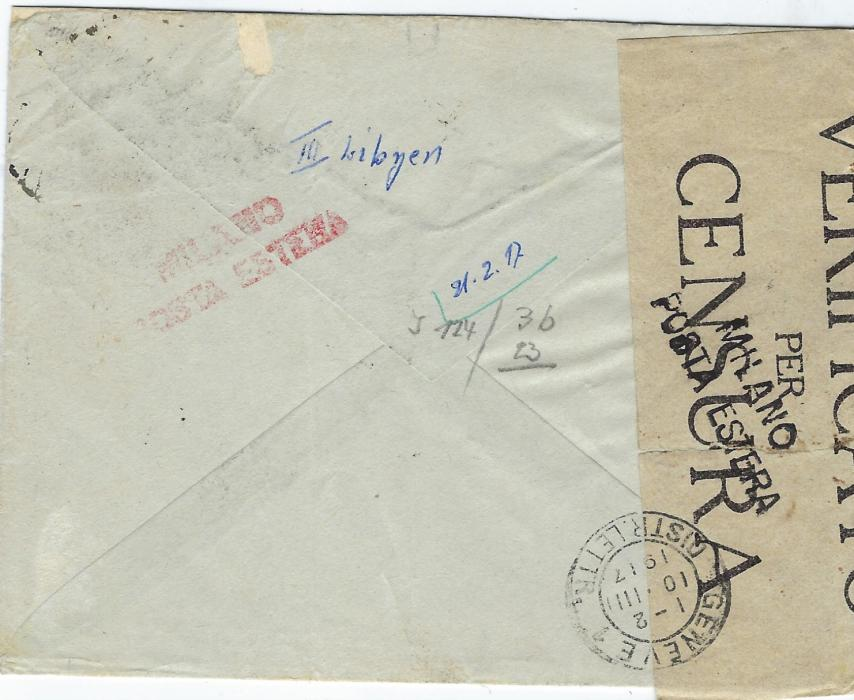 Italy (Libia) 1917 cover to Geneva, Switzerland bearing  overprinted 5c.  and 20 on 15c. tied by fine strike of Marsa Susa (Cyrenaica) cds, with censor tape at left tied front and back two-line Milano/ Posta Estera, regimental cachet at centre, arrival backstamp.