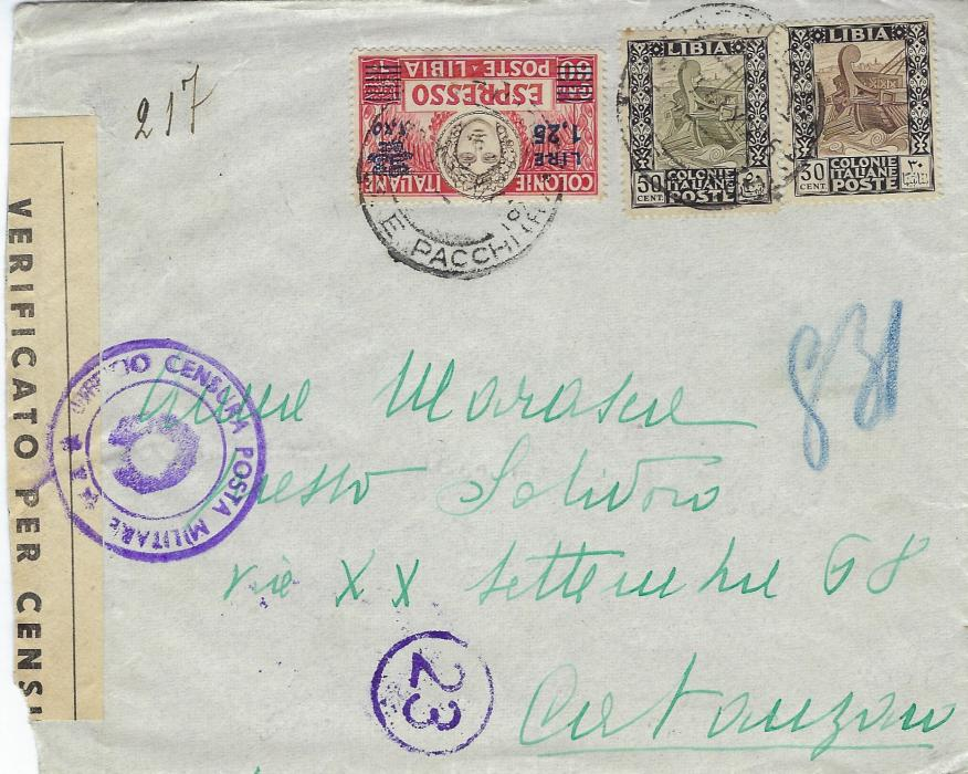 Italian Colonies (Libia) 1941 express  cover to Catanzaro franked 30c. and  50c. definitives together with Express 1.25 on 60c., censor tape at left with cachet on front; arrival backstamp.