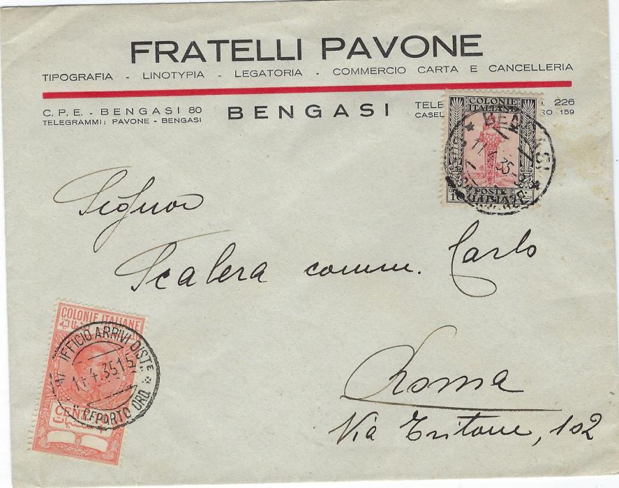 Libia (Libia) 1935 commercial envelope to Rome bearing single 10c. tied Bengasi cds, additionally franked 10c. Italian Colony Revenue cancelled on arrival.