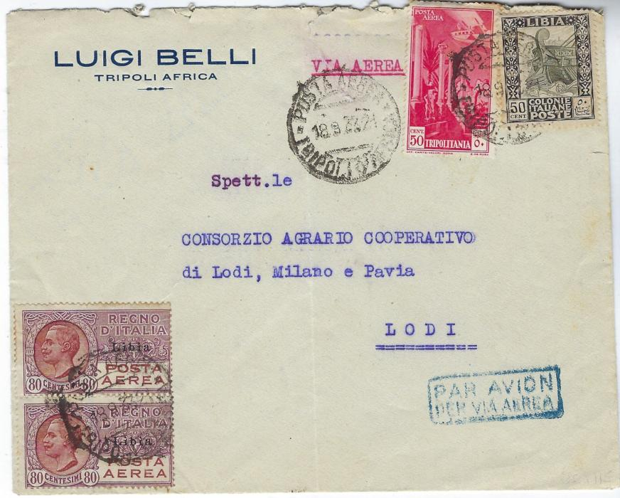 Italian Colonies (Libia) 1933 airmail cover to Lodi, franked Postage 50c. and Air 50c. of Tripolitania plus vertical pair of overprinted 80c Posta Aerea cancelled Posta Aerea Tripoli D'Africa cds, Lodi Milano arrival backstamp. Scarce 80c. multiple.