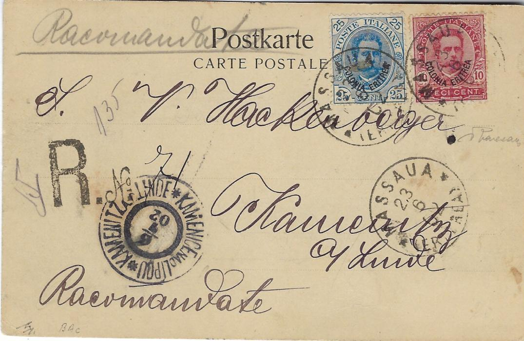 Italian Colonies (Eritrea) 1902 registered picture postcard to Kamenice nad Lipou, Czechoslovakia franked 10c. and 25c. tied Massaua (Eritrea) cds, 'R hand stamp with manuscript number.