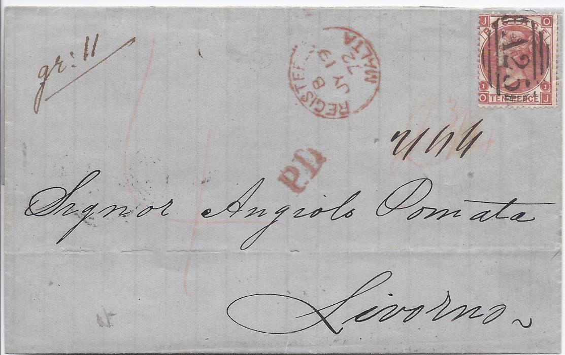 Malta 1872 registered entire to Livorno, Italy bearing single franking Great Britain 10d. cancelled by full A25 obliterator, red Registered Malta cds in association, unframed P.D>, reverse with Siracusa and Napoli transits; BPA Certificate.