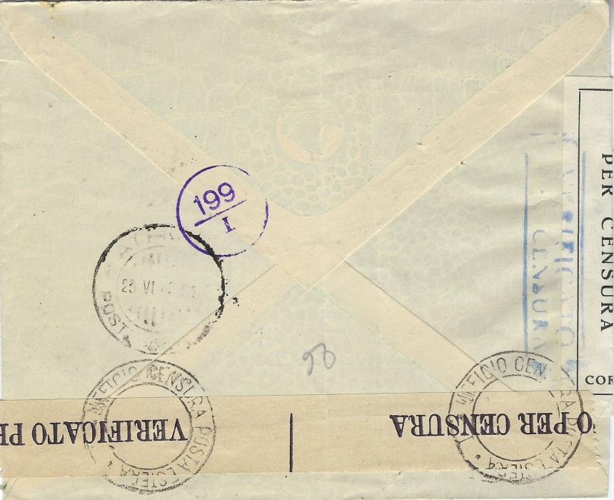 Italian Occupations (Corfu) 1942 censored airmail cover to Athens franked 'ISOLE JONIE' overprinted postage 25c. and 1L.25 (2) plus airmail 50c. pair tied Kerkyra date stamps, censored on despatch and arrival.