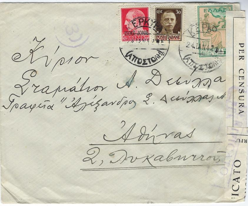 Italian Occupations (Corfu) 1942 pair of censored covers to Athens franked 'ISOLE JONIE' overprinted postage issues in combination with Greek Postal Staff Anti-tuberculosis 10 lepta, one cover with five such values and a 10c. Isole Jonie, the other with  50 on 10 lepta together with Isole Jonie 20c. and 30c.