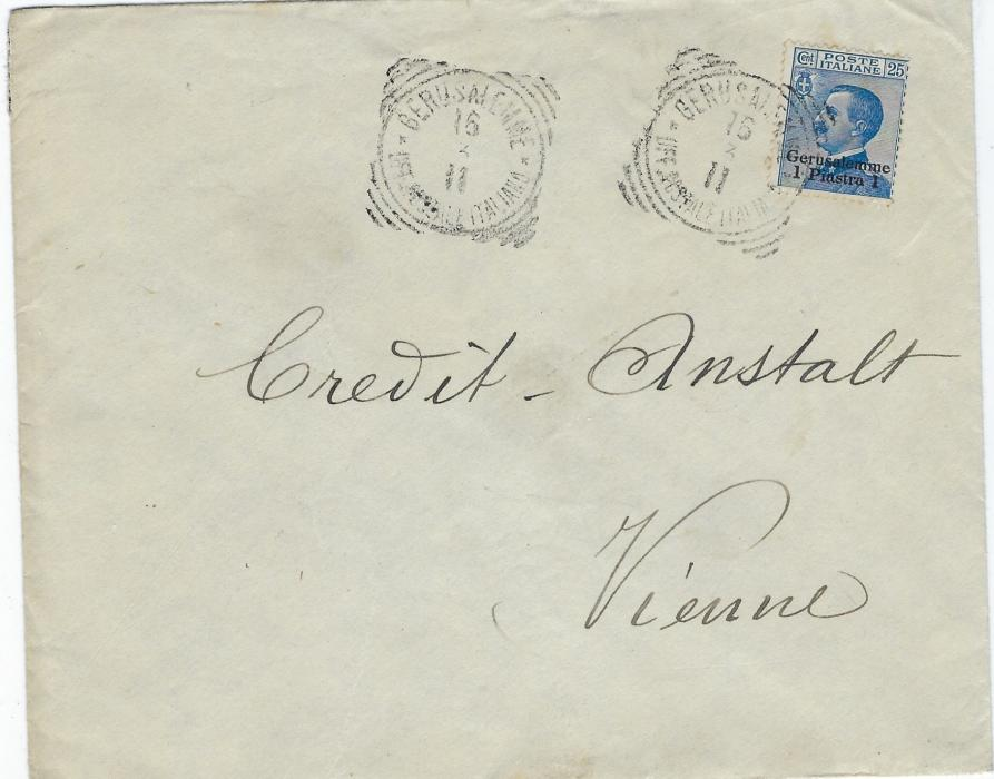 Italian Levant (Palestine) 1911 'Banque Imperiale Ottomane' envelope  to Vienna franked 1 Piastre 1 on 25c. tied Gerusalemme square circle date stamp with another strike to left; good condition.