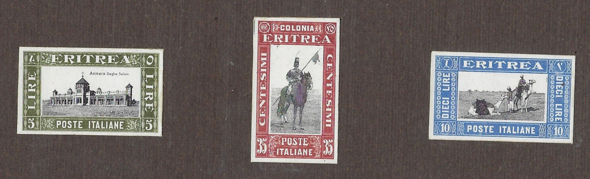 Italian Colonies (Eritrea) 1930 Soggetti africani group of three imperforated proofs affixed to thick card with 35c. Lancer, 5L. Asmara Parliament and 10L. Camels.