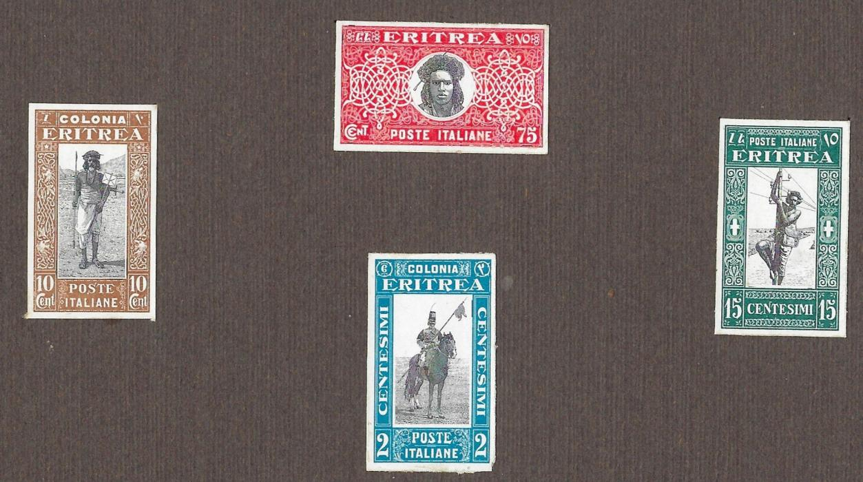 Italian colonies (ERitrea) 1930 Soggetti africani group of four imperforated proofs affixed to card with 10c. Postman, 15c. Telegraphist, unissued 75c. Portrait and 2L Lancer