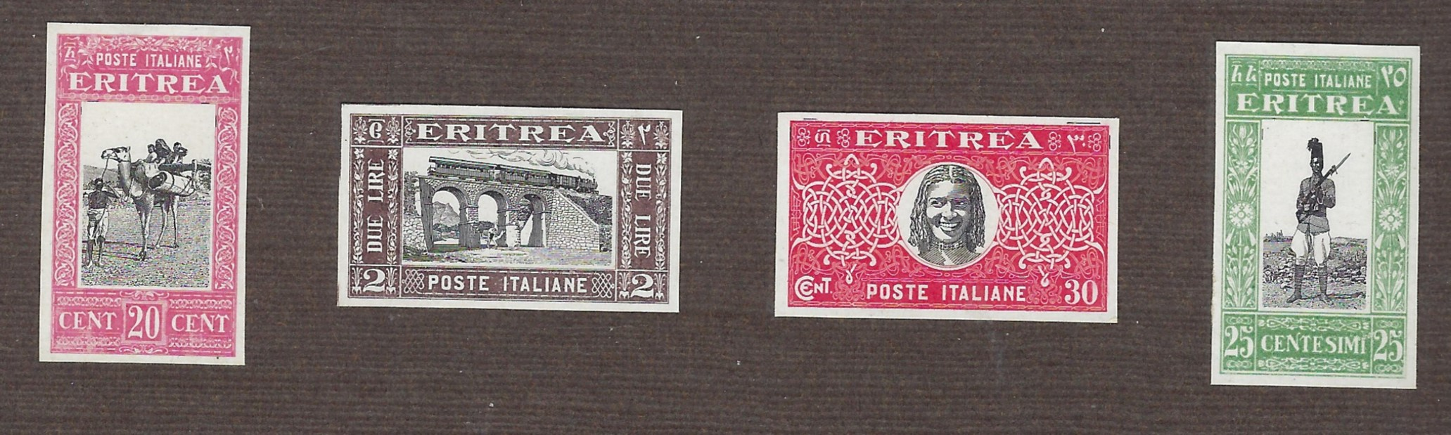 Italian Colonies (Eritrea) 1930 Soggetti africani group of four imperforated proofs affixed to thick card with unissued 20c. Camel, 25c Askari, nissued 30c. Portrait and 2L Railway Viaduct, fine condition