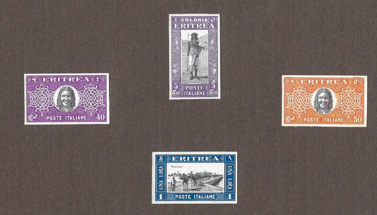 Italian Colonies (Eritrea) 1930 Soggetti africani group of four imperforated proofs affixed to thick card with 5c. Postman and 1L. Camels plus unissued design of local female head values for 40c. and 50c.; fine and unusual.
