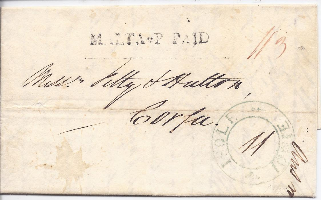 Malta 1824 entire to Corfu bearing good example of scarce MALTA*P PAID handstamp, large double-ring Isole Ionie arrival handstamp; no backstamps, fine and scarce.