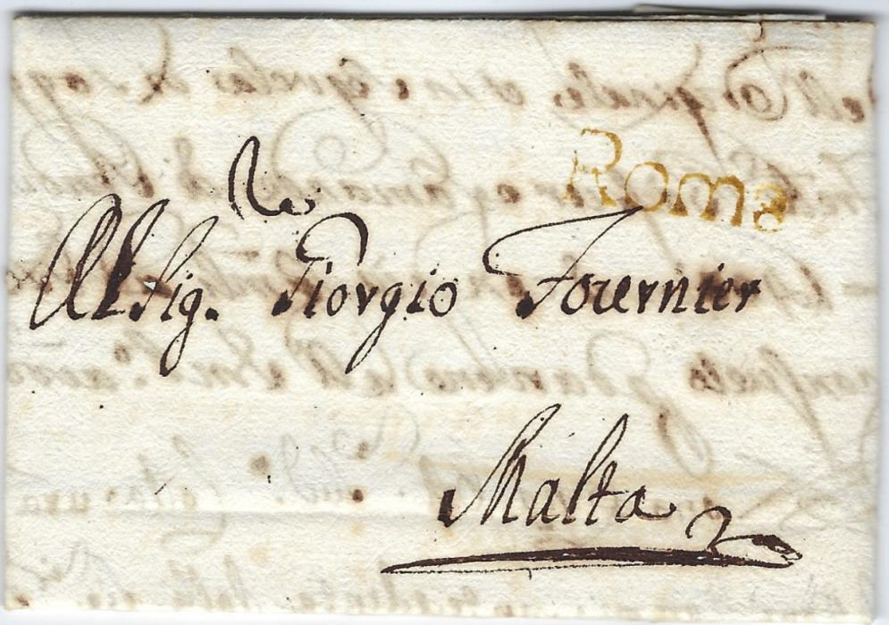 Italy 1765 (15.10.) entire from Rome to Malta which was handed over to the Napoleonic  Post Offices in Rome and sent via Naples, small straight-line Roma applied, without any other postal markings, fine condition. Ex. Vollmeier.