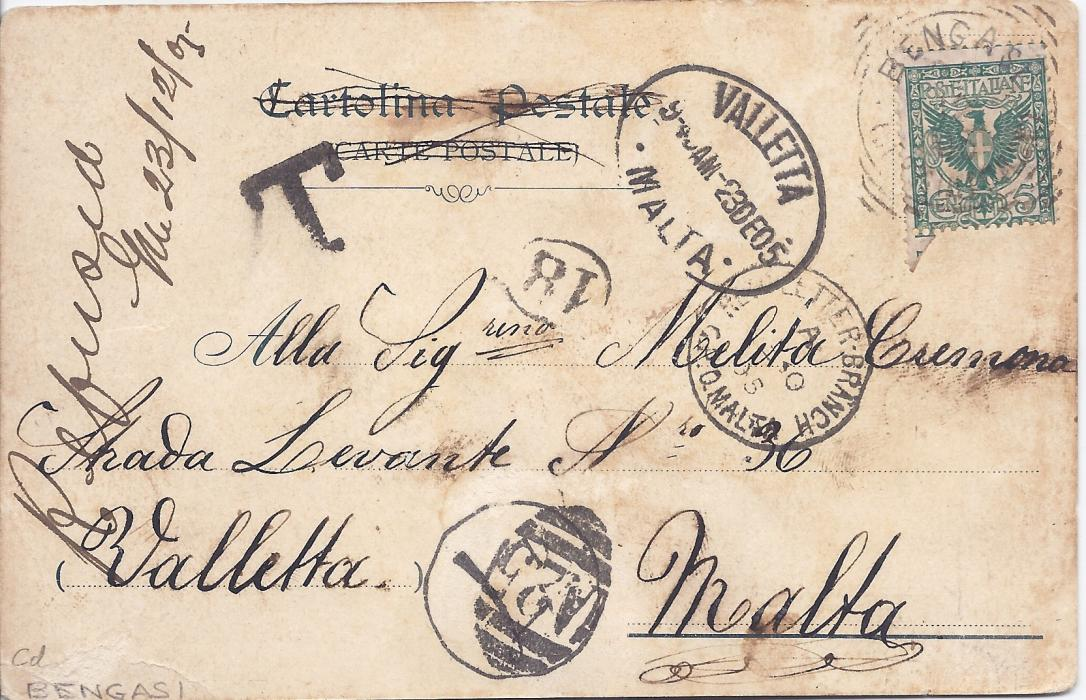 Malta 1905 incoming picture postcard from Bengasi, Libia underfranked with Italy 5c. tied square-circle date stamp, black handstamped T at left and circular framed 4d charge handstamp which has been cancelled by overstriking with A25 obliterator, oval Valetta date stamp and Retn Letter Branch G.P.O. Malta cds; some slight staining of little importance.