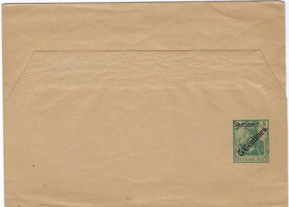 Germany (Post Offices in Turkish Empire) 1908 5 Centimes on 5pf. diagonal overprint postal stationery wrapper overprinted Specimen. Good condition.