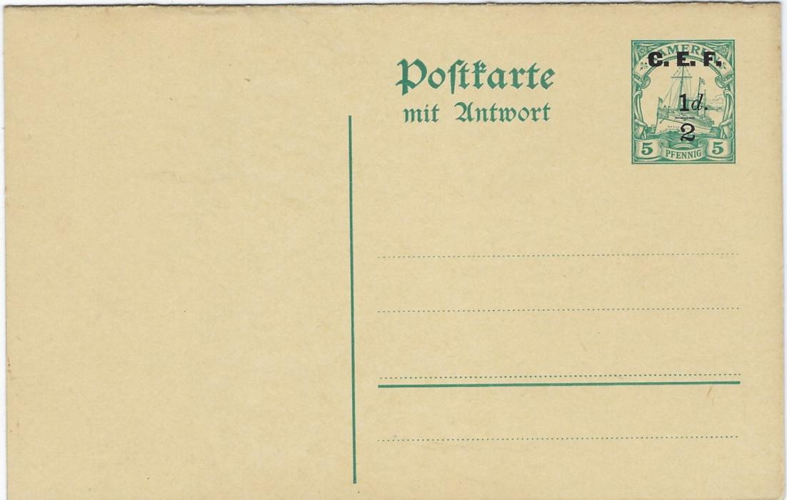 German Colonies (Kamerun – British Occupation) 1915 C.E.F. ½d. on 5pf., 1d. on 10pf. and ½d. on 5pf. reply card, both ½d. with watermark, 1d. without; fine unused
