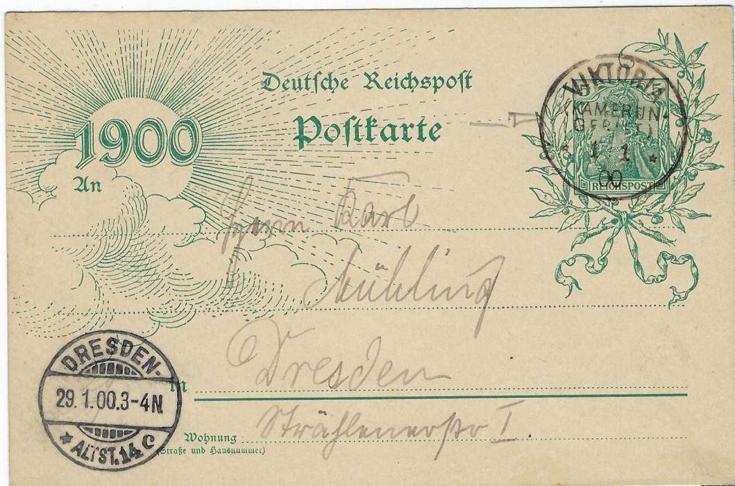 German Colonies (Kamerun) 1900 5pf German New Year stationery card to Dresden cancelled by fine strike of Viktoria (Kamerun Gebeit) cds of 1.1.00, arrival cds bottom left; very fine condition, without message.