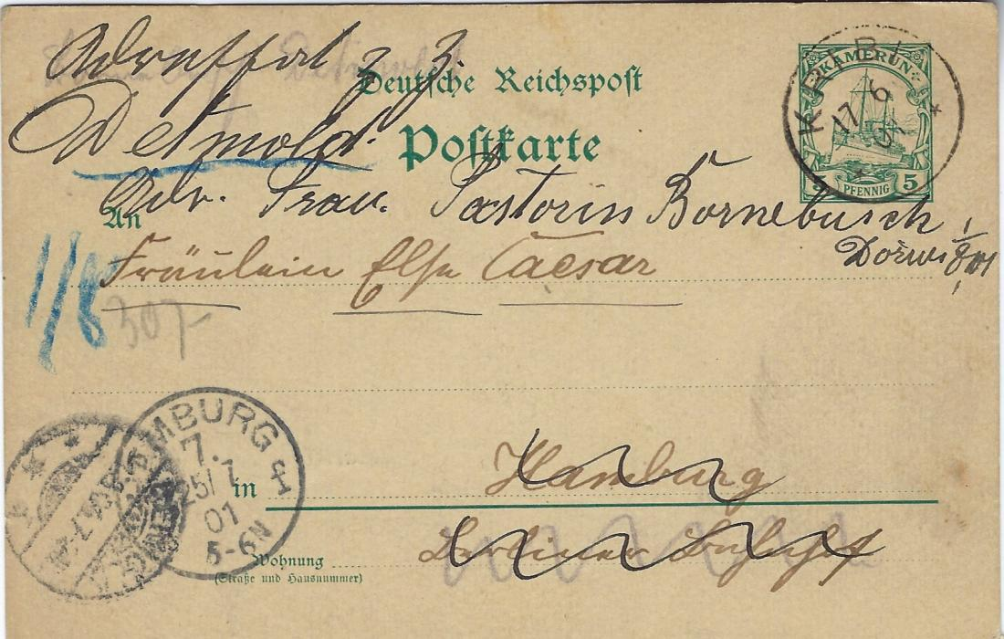 German Colonies (Kamerun) 1901 (17/6) 5pf stationery card, a long message written from Joko on Jun 10, cancelled Kribi cds, Hamburg arrival at left, redirected to Detmold. Good condition.
