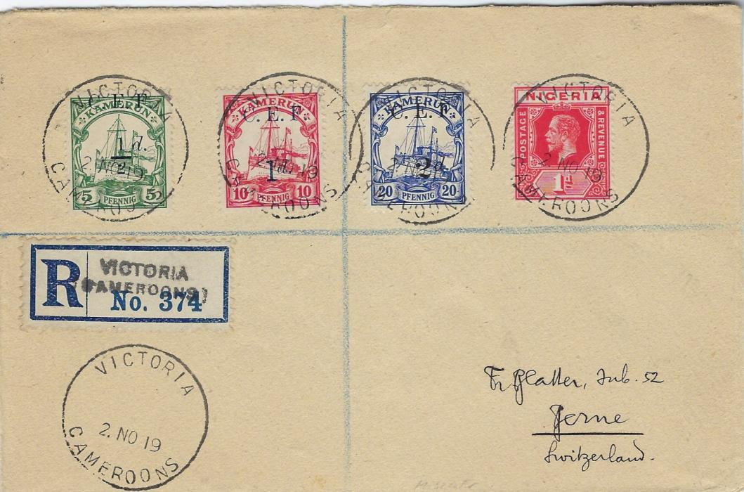 Cameroun (British Occupation) 1919 (2. NO) registered cover to Berne, Switzerland franked C.E.F. ½d., 1d. and 2d. surcharges together with Nigeria 1d. tied Victoria Cameroons cds, handstamped registration label, reverse with further despatch cancel, Liverpool transit and arrival cds.; fine and fresh condition.