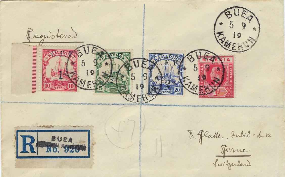 Cameroun (British Occupation) 1919 (5.9) registered cover to Berne, Switzerland franked C.E.F. ½d., 1d. and 2d. surcharges together with Nigeria 1d. tied Buea Kamerun cds, handstamped registration label, reverse with Victoria Cameroons cds, Liverpool transit and arrival cds.; fine and fresh condition.