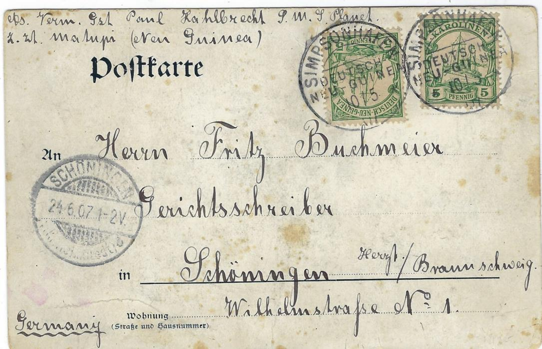 German Colonies (New Guinea) 1907 picture postcard Gruss Aus Yap to Germany bearing combination franking Karolinen 5pf. and Deutsch Neu Guinea 5pf each tied Simpsonhafen Deutsche Neu Guinea cds, arrival at left; some slight staining.