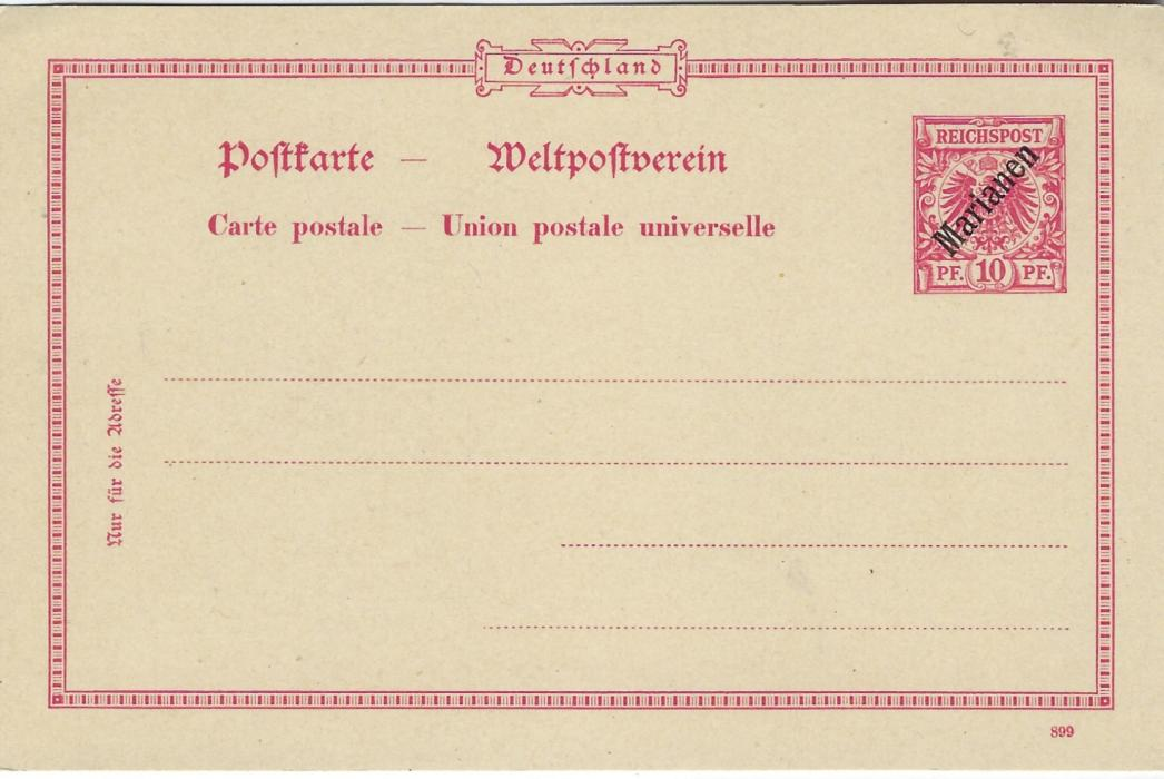 German Colonies (Marianen) 1899-1900 stationery cards with 5pf watermark 99C, 5pf + 5pf reply card with 999 control, both sold at Berlin Post Office, 1900 10pf without watermark but tiny pin holes and 1899 10pf + 10pf reply card, control 399; fresh unused.