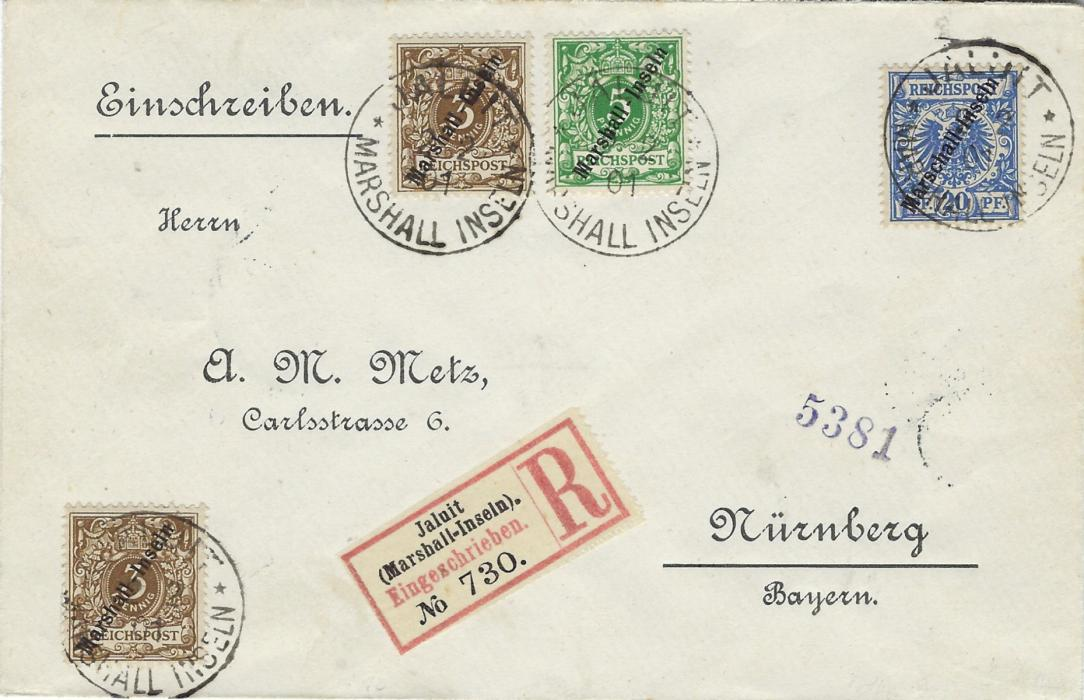 German Colonies (Marshall Islands) 1901 'Metz' registered envelope franked Marshall Inseln overprinted 3pf. (2) and 5pf. together with earlier Marschall Inseln overprinted 20pf. all tied Jaluit Marshall Inseln cds, fine condition with arrival backstamp.