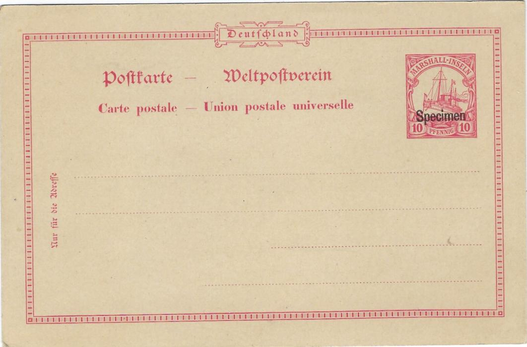 German Colonies (Marshall Islands) 1901 10pf postal stationery card with border overprinted 'Specimen', fine unused