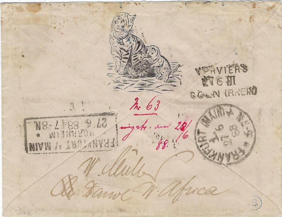 German Colonies (West Africa – Gold Coast) 1888 (26/5) cat illustrated cover to Frankfurt bearing framed Aus/ West – Africa/ mit/ Hamburger Dampfer  handstamp tying a 20pf., reverse with Verviers Coln tpo and arrival cancels, front with manuscript Quittah, den 26/5 88; fine and scarce.