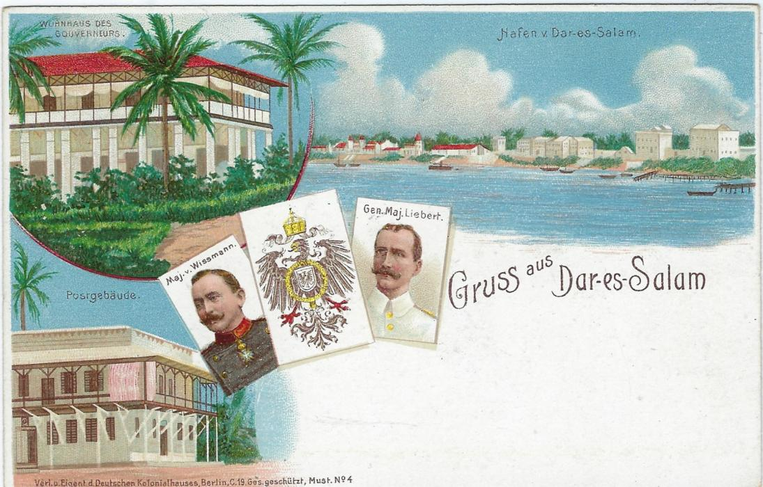 German Colonies (East Africa) 1898 5 Pesa on 10pf 'Gruss aus Dar-es-Salam' picture stationery card fine unused.