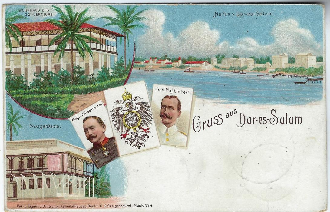 German Colonies (East Africa) 1898 5 Pesa on 10pf 'Gruss aus Dar-es-Salam'  picture stationery card used to Berlin with Iringa/ Deutsch-/ Ost-Afrika cds of 24/5 98, with Dar-Es-Salaam transit at bottom left overstruck with arrival cds. First Day of use of Iringa postmark.