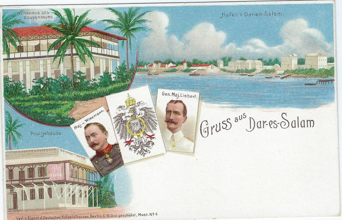 German Colonies (East Africa) 1898 3 Pesa on 5pf 'Gruss aus Dar-es-Salam'  picture stationery card fine unused