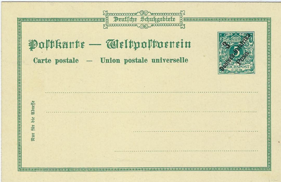 German Colonies (East Africa) 1898 3 Pesa on 5pf 'Gruss aus Bagamojo' picture stationery card fine unused.