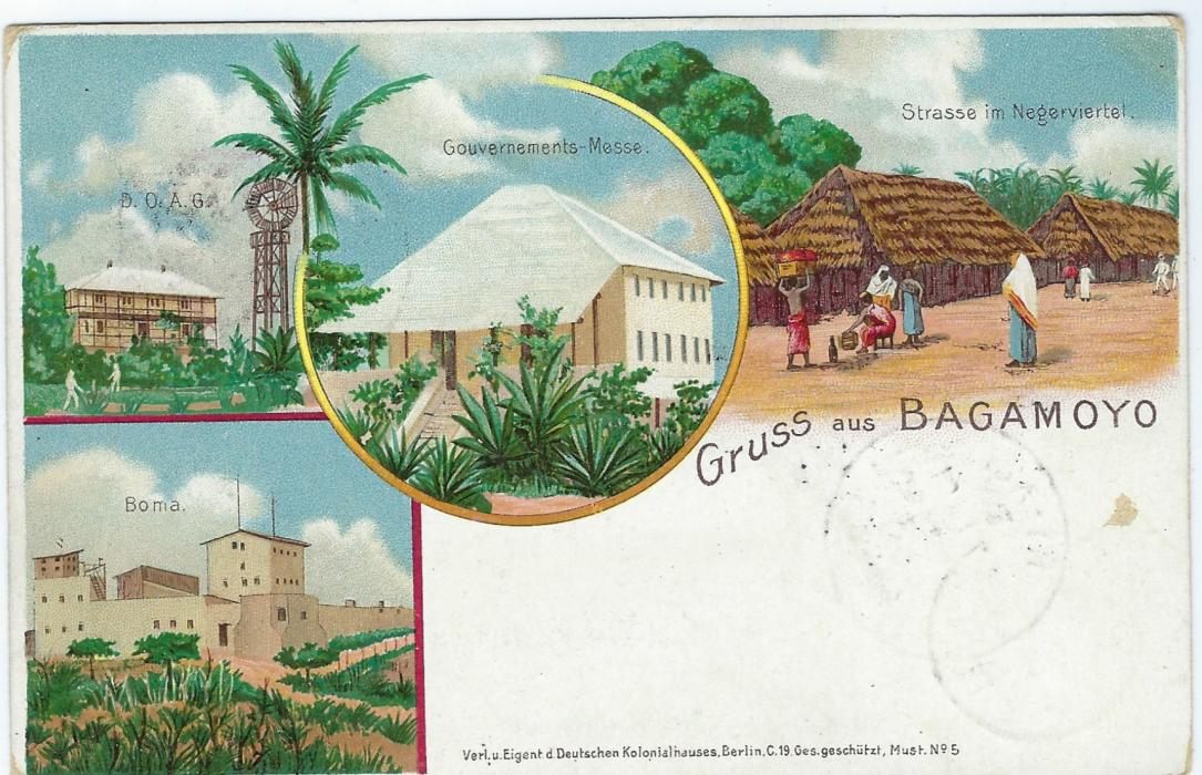 German Colonies (East Africa) 1898 5 Pesa on 10pf 'Gruss aus Bagamojo' picture stationery card used to Berlin with Iringa cds of 30/5, Dar-es-Salaam transit bottom left of 25/6 overstruck by arrival cds. Slight corner bumps and small surface abrasion.
